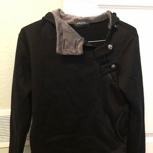 Woman's black hooded pullover large